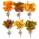 Fall Leaves 6 Stem 14in Bouquet 6ast W/texture Leaf Hrvst Hangtg