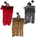 Shrouded Skull 18in Hanging Dcr 3ast Stripe/red/brown Long Rags Hall Ht