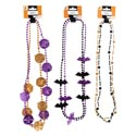 Necklace 2pk Halloween Beaded 3ast Bones/medallion/bat Barbell