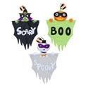 Hanging Decor Halloween Whimsy 3ast Puffy Head W/banner Greetng Witch/pumpkin/ghost 18in Hallh