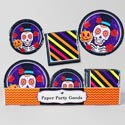 Paper Party 48pc Pdq Sugarskull/ Dod 8ct 7 And 9in Plate/16ct 13x13in Napkin Shrink W/label
