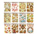 Window Cling Harvest 12ast Leaf/trad/modern Mixed Styles 8-4cprint X 4 Glitter