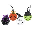 Door Hanger Halloween Flat Metal Jingle Bell 4asst Faces Ht