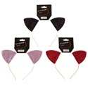 Headband Cat Ears Glitter/metal Band 3ast Colors Hlwn Barbell 18black/6red/12 Pink Per Case