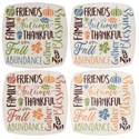 Harvest Melamine Square 8.5in Plate W/greetings 4ast Colors In 36pc Pdq W/upc Label