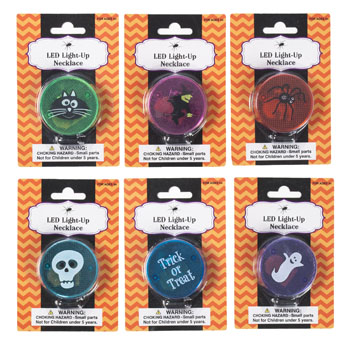 Necklace Blinking Halwn Safety Led Light 6ast 12pc Merchstrip Halloween Blister Card