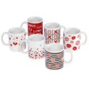 Mug 11oz 6ast Love/lip/heart Designs Stoneware Upc Label