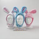Bunny Hat W/ears Plush 3asst W/velcro Close White/pink/blue 13.5 X 7 X 5.25in/header Card