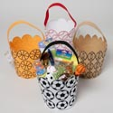 Easter Basket Felt 4ast Sports Diecut Scalloped Top 6in X7.25h Easter Ht