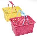 Basket Handled Plastic W/floral Diecut Detail/3ast Colors Upc 5.25x7.75x10in