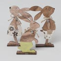 Bunny Tabletop Decor Wood Figure 3asst Natural Finish W/bell & Twine Bow 9.8in H Easter Label