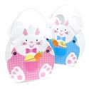 Easter Basket Felt W/handle 2ast Bunny Girl/boy W/prnted Overalls 8.8 X 10.43in Easter Ht