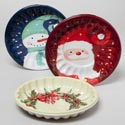 Cookie Plate Plastic 9.5in Dia 3 Christmas Prints Upc Label