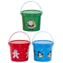 "Candy Bucket W/lid Plastic Christmas Prints 2colors 4.75x4x4.25""h Xmas Label"
