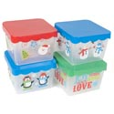 Food Storage Christmas Container Square Plastic W/3 Prtd Designs Pp/upc Label-red/green/blue L