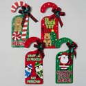 Door Knob Hanger 4asst Holiday Greetings W/glitter Decals & Bows W/holly Upc Label