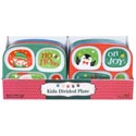 Dinnerware Kids 4section Tray 3ast Christmas Design 48pc Pdq Melamine Ea W/xmas Label