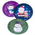 Serving Tray 12in Dia Tin 3 Holiday Designs Upc Label