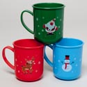 Mug Plastic Christmas 3ast Designs In 12pc Tray Upc Label