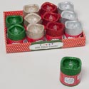 Candle Led Flickering Pillar W/ Glitter 2.7x3in 4ast Colors In 12pc Pdq Christmas Ht