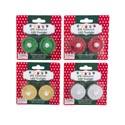 Tealight Led 2pk Glitter 7asst 12pc Mdsgstrip Trad & Fashion Colors Christmas Blister Card