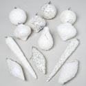 Ornament White Snow & Ice Theme 16styles/shapes Polybag/header