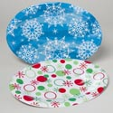 Serving Tray Oval 2ast Christmas Melamine 2ast Snowflake Pattern 11.875 X 8.75 Upc Label