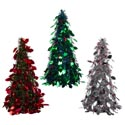 Christmas Tree Tinsel Cone 18.75in Silver/red/blue Christmas Ht