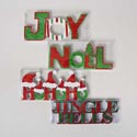 Christmas Table Top Decor 4ast Eva W/glitter Fun Fonts 12x4.5in Hohoho/joy/noel/jingle Pvcboxu