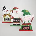 Christmas Character Jumbo Table Decor 3ast W/glitter Mdf Upclbl