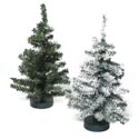 Christmas Tree 12in Canada Pine 60tips 2ast Green & Snow Tipped Plst Base Xmas Hangtag/open Pb