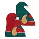 Elf Hat W/ears/star Icon 2ast* **w/pompom & Striped Piping Red/green 13.5x12in Ht/jhook