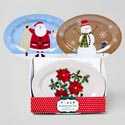 Serving Tray Oval Melamine 14x10 3ast Christmas Designs/24pc Pdq Upc Label 140gms