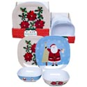 Dinnerware Melamine Square 11in Plate/6.5in Bowl/24pc Pdqea 2ast Christmas Designs/upc Label
