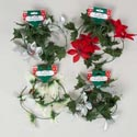 Garland Leaf Poinsetta 5ft 4 Ast Red/white/silver/silvr W/glitter Christmas Barbell Card