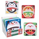 Dinnerware Melamine Kids Divided Square 2section Plate 4ast/24pdq Christmas Characters 8.8in/l