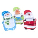 Tray 2-part Christmas Melamine 3ast Character Shaped Trays 15.35x9.84x1.18in Christmas Lbl