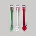 Wreath Hanger Metal 14in 3ast Red Santa/green Tree/white Flake Xmas Tie On Header Card