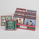 Christmas Tabletop Decor 6ast Mdf Mini Plaques 4x4in/24pc Pdq Xmas Label