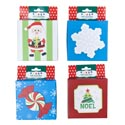 Gift Card Box 4x4in Christmas 4ast Designs W/popup & Glitter Peggable Hanger Card