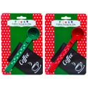 Coffee Scoop 2ast Holiday Prints Red/green 1.25 Tsp/12pc Mdsgstrp Christmas Tie On Card