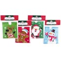 Treat Bag W/drawstring 15ct 4 Xmas Prints 6x6/12pc Cstrip 0.025mm/pbh