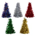 Christmas Tree Tinsel Cone 10in Decor/green/gold/silver/multi Christmas Ht