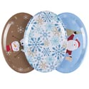 Christmas Oval Serving Tray 3ast Melamine 18.5 X 13in 250g Upc Easy Peel Label