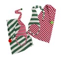 Elf Hat Or Puffy Headband Asst Poly Knit Red Or Green Stripe Xmas Ht/jhook