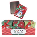 Gift Card Tin W/bow On Lid 3ast Xmas Prints 24pc Pdq
