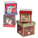 Gift Box 2pk Trinket/jewelry Sq 2.75x2.25in 3asst Prints Shrink/label