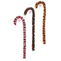 Candy Cane Tinsel Decor 4ft H 3ast Color Combos Xmas Hangtag Silver/red-red/green-gold/red