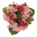 Coral Hydrangea Candle Ring Measures 8in