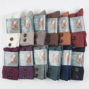 Socks Womens Sld Foldover Button Boot 13clr Banded W/hanger*9.99* See N2